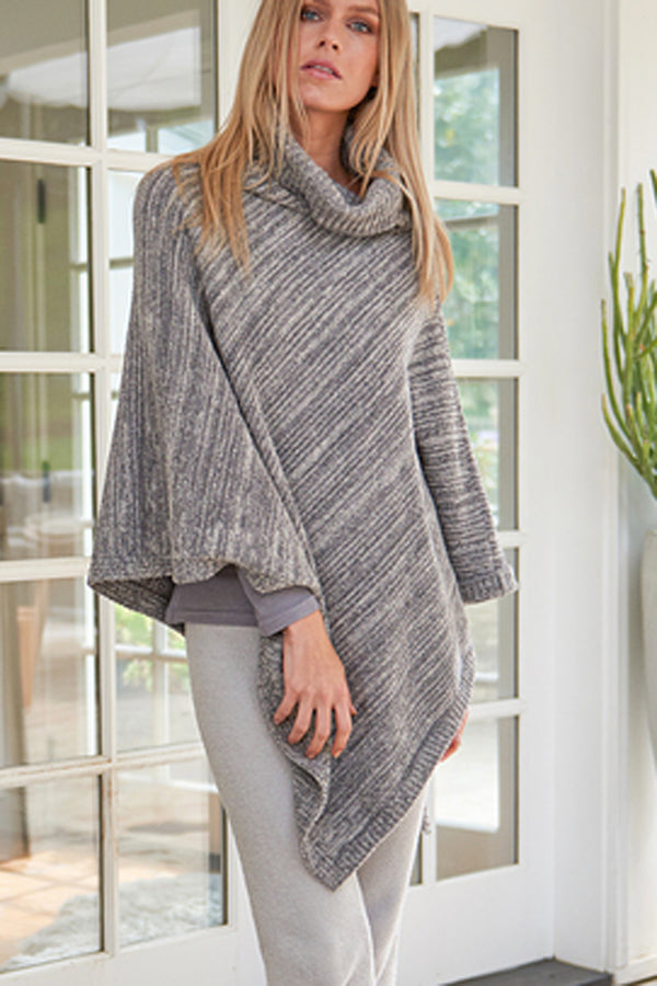 CozyChic Point Dume Poncho - Graphite & Stone