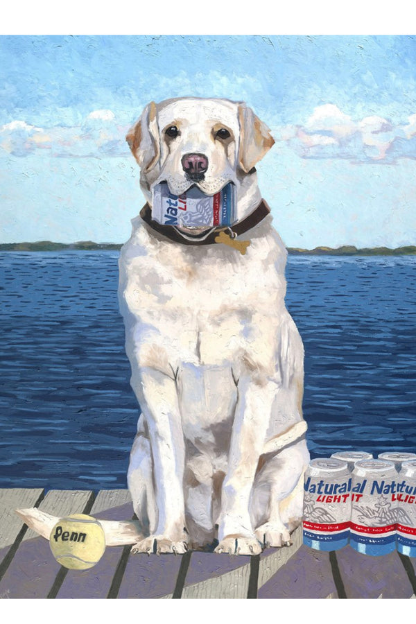 Wine Art - Fetch! Yellow Lab