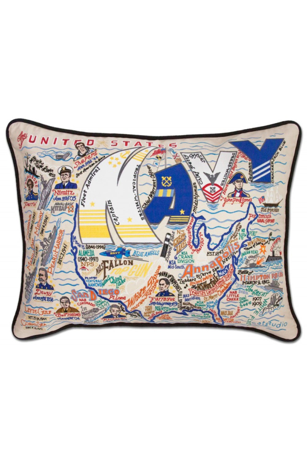 United States Navy Embroidered Pillow