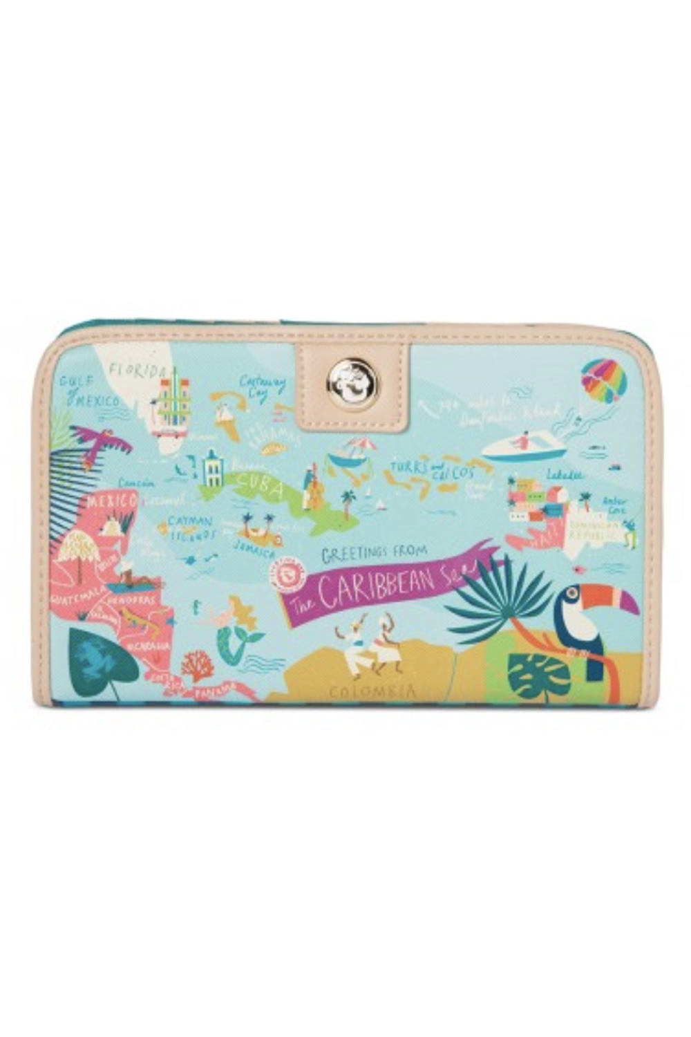 Destination Map Snap Wallet - Caribbean