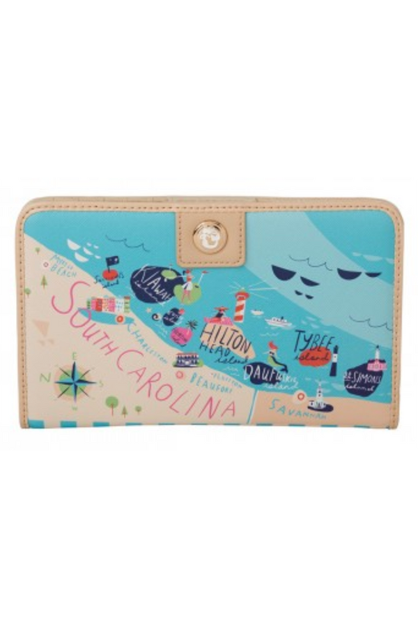 Destination Map Snap Wallet - South Carolina Sea Islands
