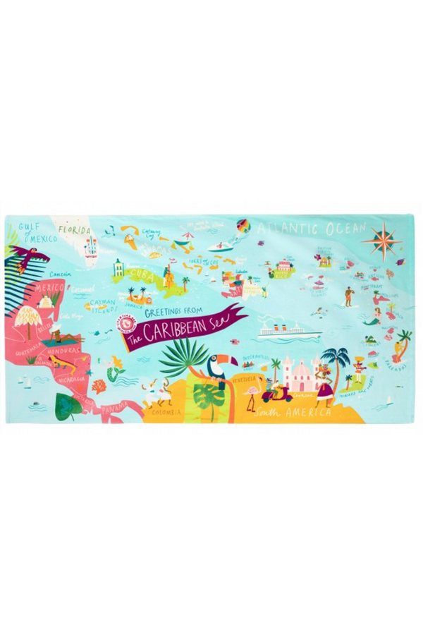 Destination Map Beach Towel - Caribbean