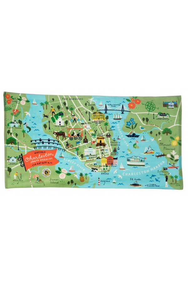 Destination Map Beach Towel - Charleston