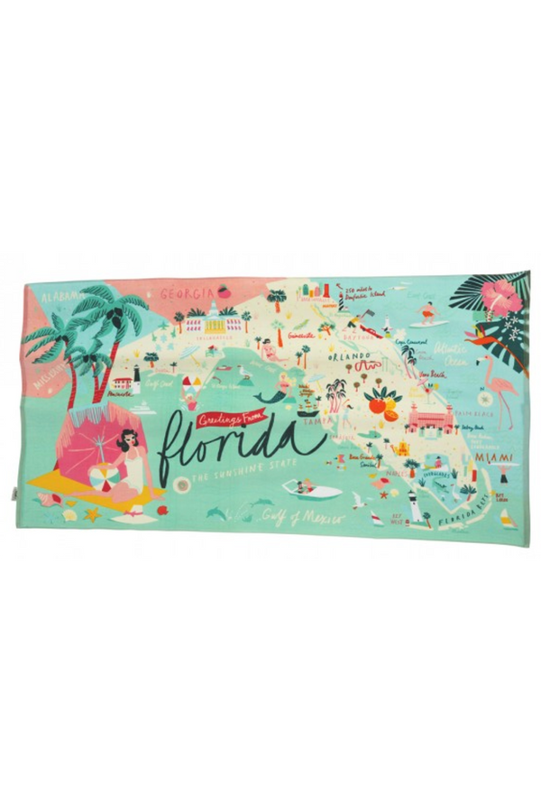 Destination Map Beach Towel - Florida