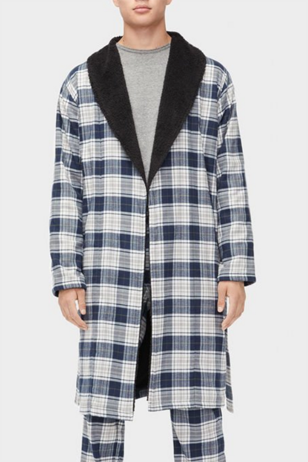 "The ""Kalib"" Men's Plaid Robe - Navy"
