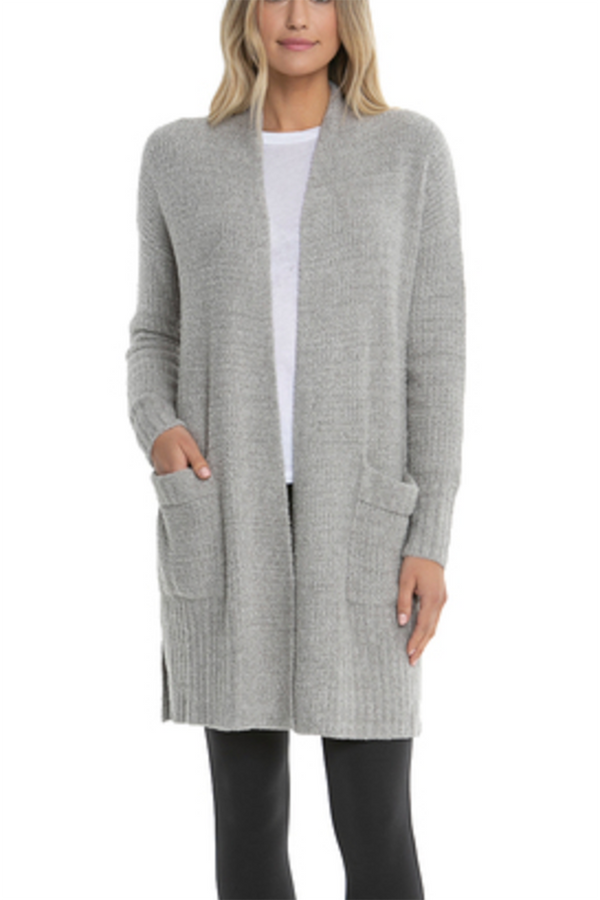 CozyChic Lite Long Weekend Cardi - Pewter/Silver