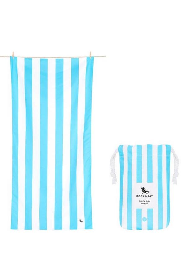 Quick Dry Cabana Beach Towel - Tulum Blue