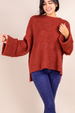 Wide Sleeve Sweater - Rust