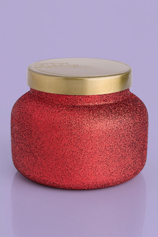 SIDEWALK SALE ITEM - 8oz Petite Candle - Volcano Red Glitter