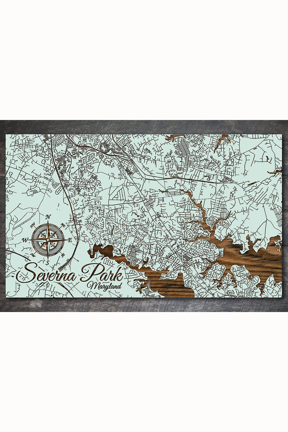 FP Wooden Map - Severna Park, Maryland (Seaglass)