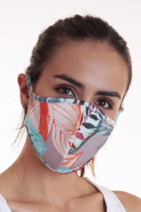 Reversible Face Mask - Gray Orange Leaf