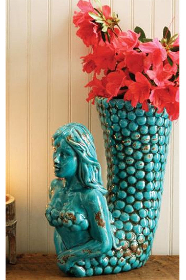 Turquoise Ceramic Mermaid Planter Vase