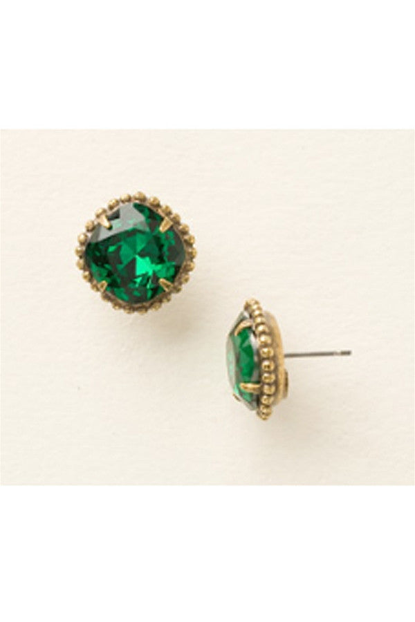Cushion Cut Solitaire Stud Earring - Emerald