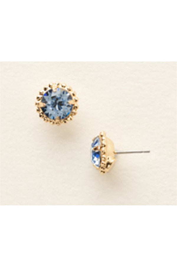 Simplicity Stud Earring - Bright Gold Light Sapphire  - LTSAPPHIRE