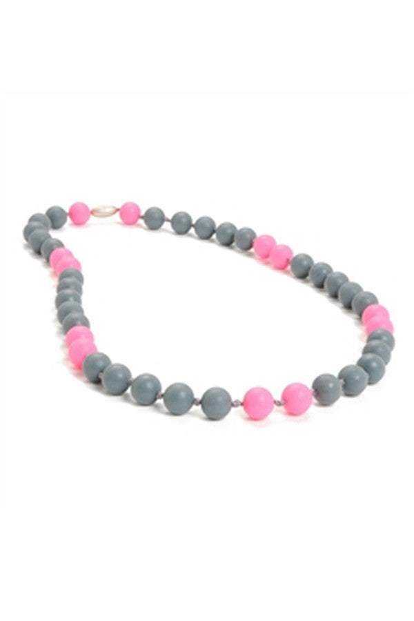 Waverly Baby Teething Necklace - Pink & Gray