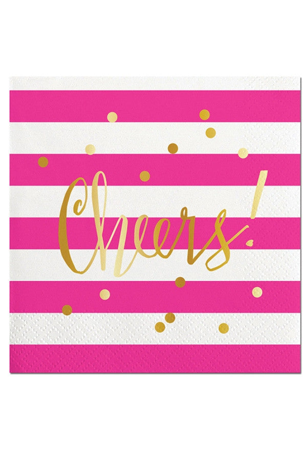 Cocktail Napkins - Pink Cheers  - CHEERS PINK
