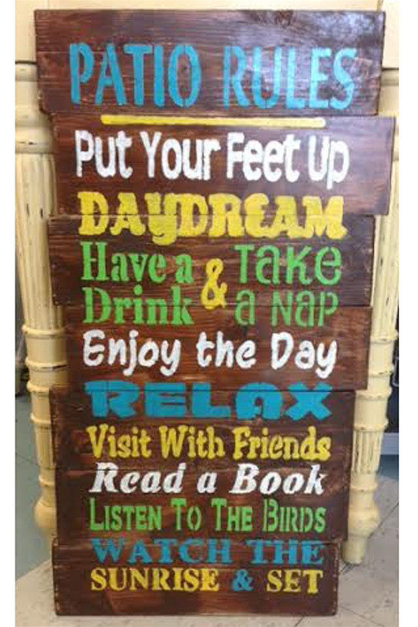 "Wooden ""Patio Rules"" Sign"