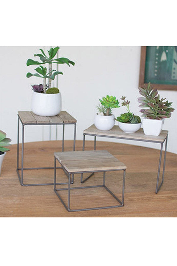 Wood Topped Metal Table Risers