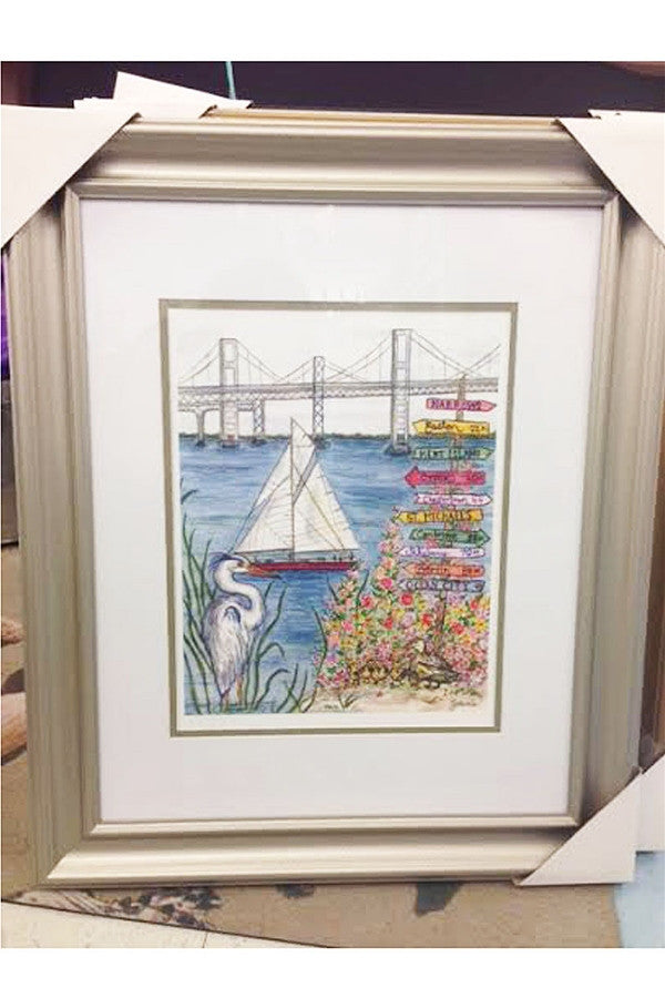 Silver Framed Collage - Bay Bridge & Heron  - SILVER