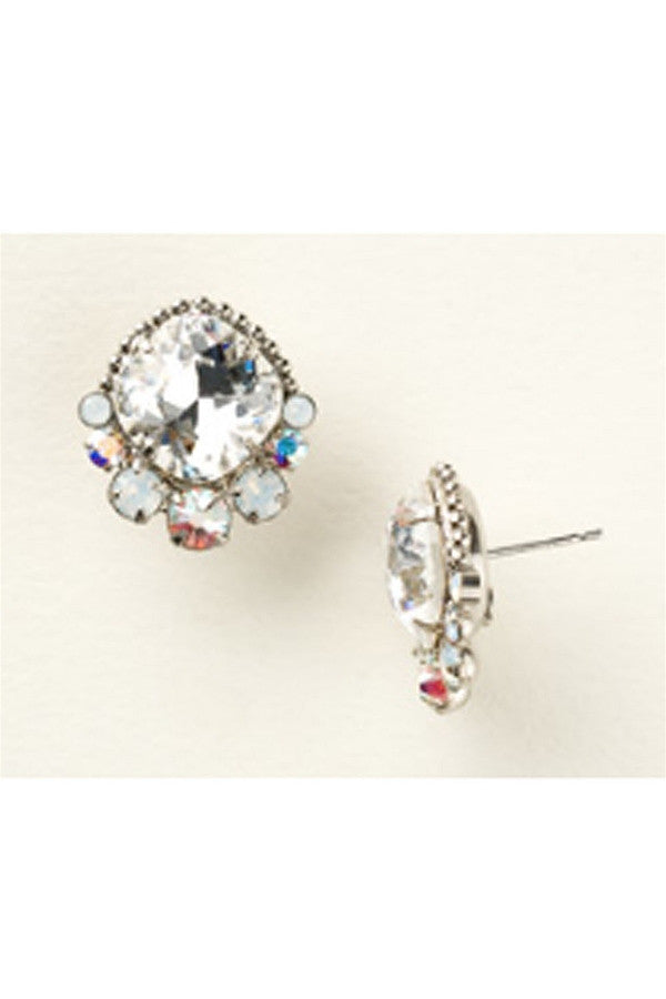 Embellished Stud Earring - Antique Silver White Bridal