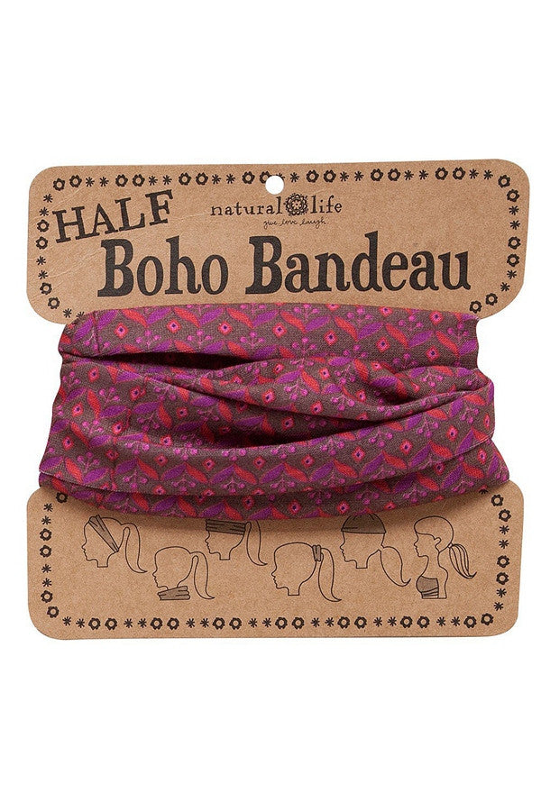 HALF! Boho Bandeau - Brown, Red, & Pink Floral  - BROWNREDPINK