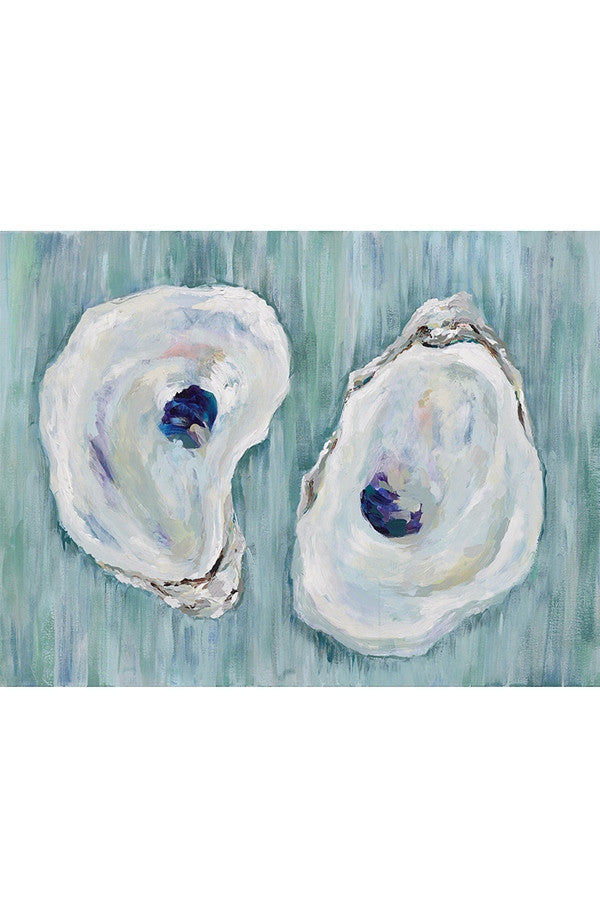 Kim Hovell Matted Print - Chincoteagues Oysters on Aqua