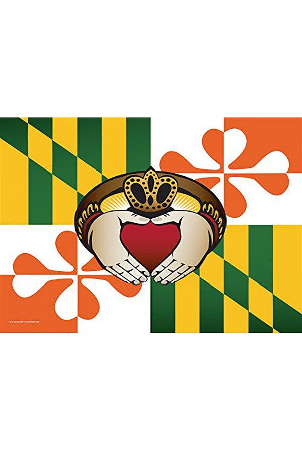 Large House Flag - Maryland Irish Claddagh  - IRISH