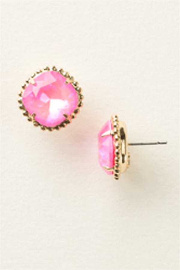 Cushion Cut Solitaire Stud Earring - Ultra Pink