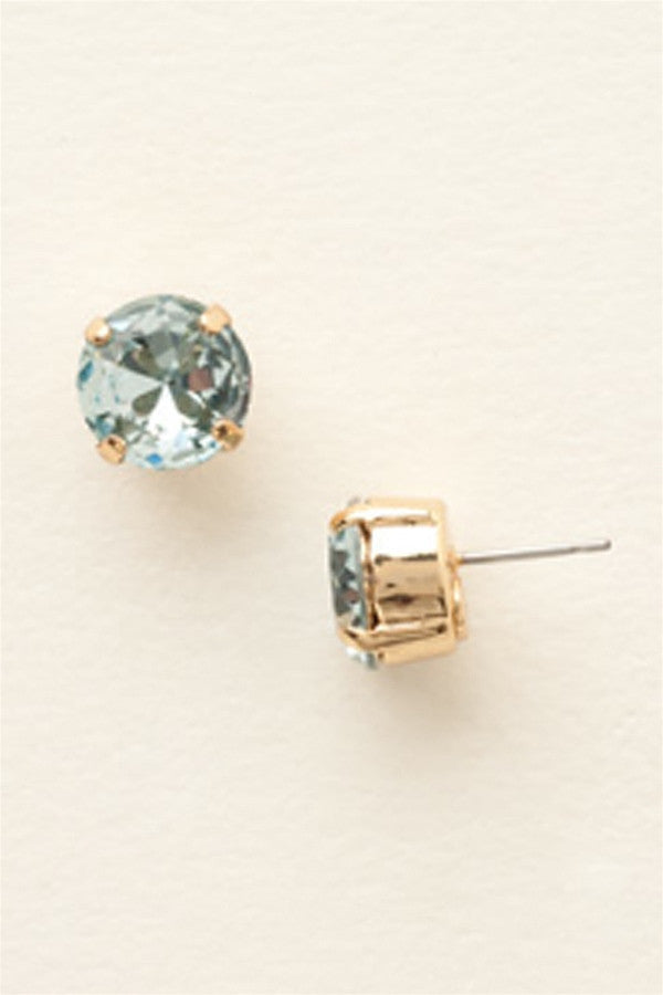 Round Crystal Stud Earring - Bright Gold Light Aqua