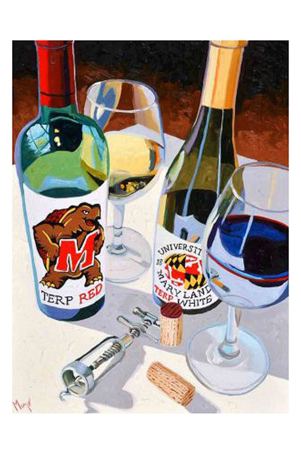 Wine Art - Maryland Terps Red & White  - TERPREDWHITE