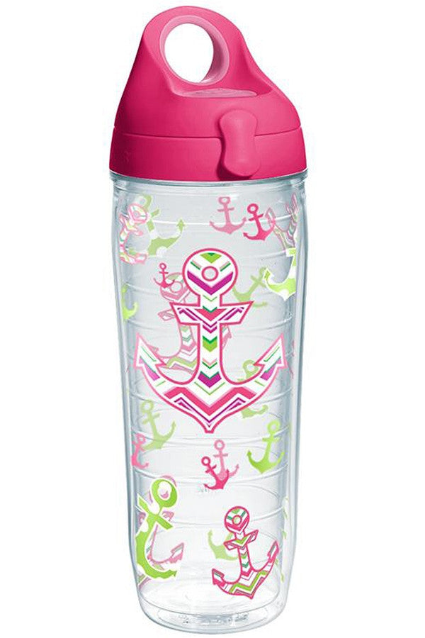 Wrapped Water Bottle - Anchors Away Pink  - ANCHORSAWAY