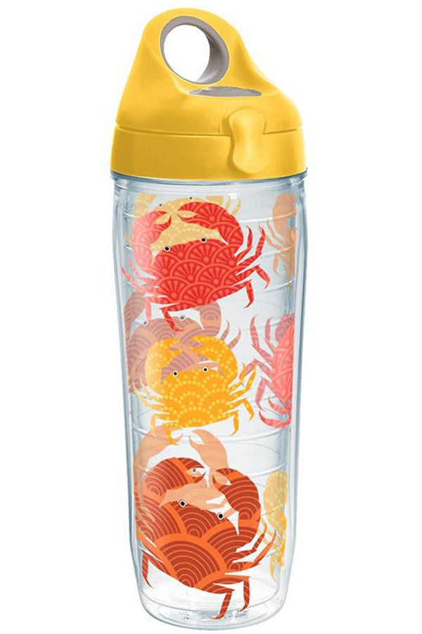 Wrapped Water Bottle - Crab Pattern Yellow  - CRABPATTERN