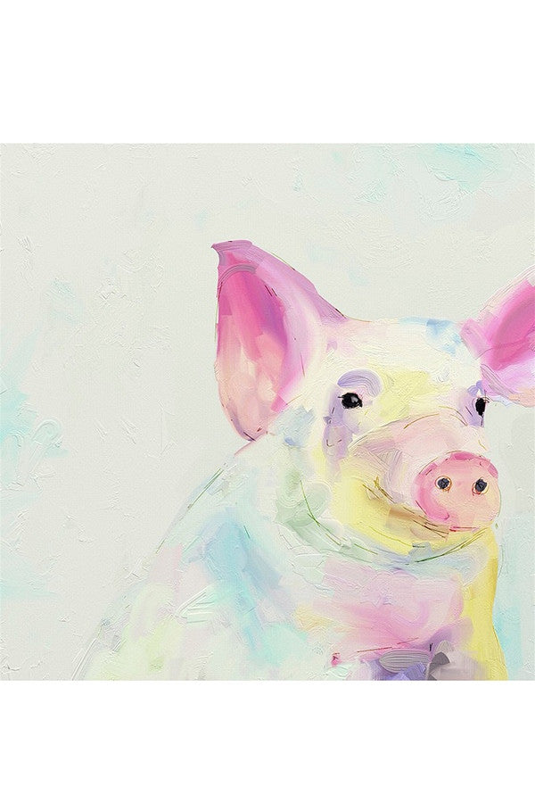Whimsical Art Canvas - Happy Pig  - HAPPYPIG