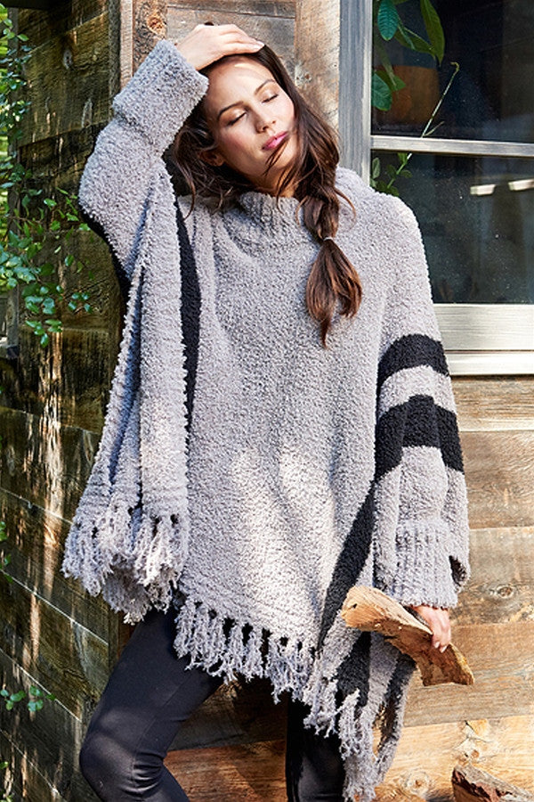 CozyChic Beach Poncho  - Warm Gray & Black