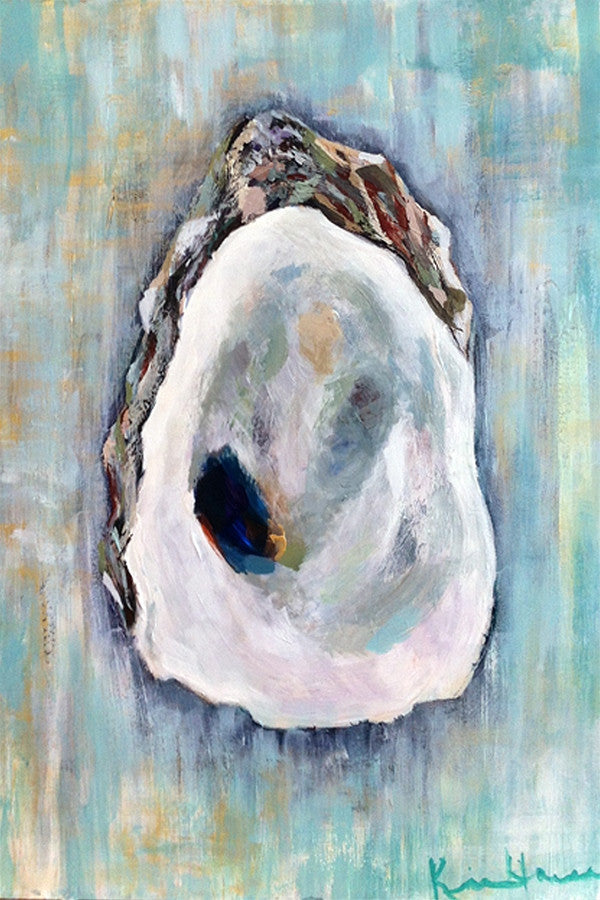 Kim Hovell Matted Print - Oyster on Aqua
