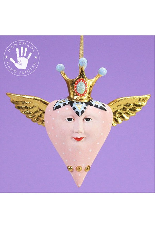 Mini Ornament - Pink Heart with Wings