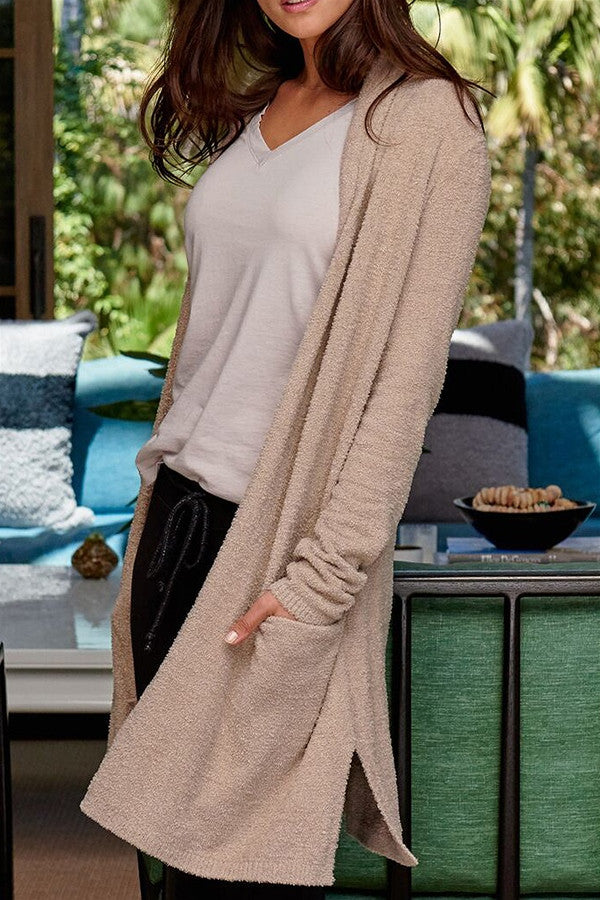 Bamboo Chic Essential Long Cardi - Sand Beige