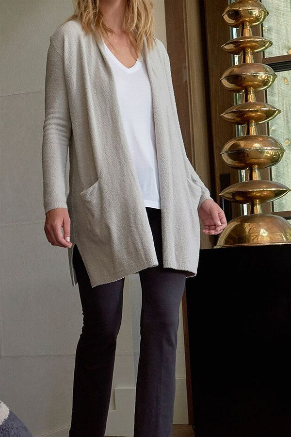 Bamboo Chic Essential Long Cardi - Silver Light Gray