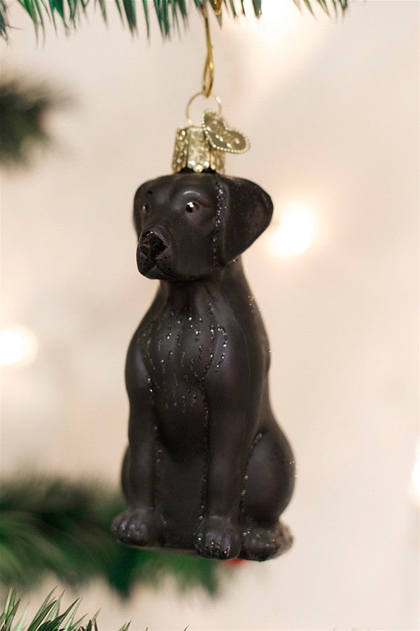Glass Ornament - Black Lab