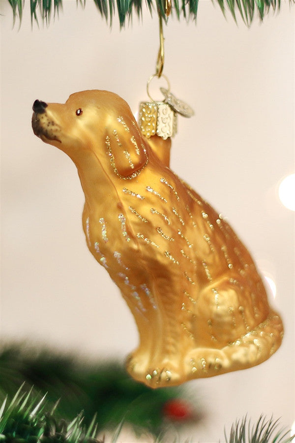Glass Ornament - Sitting Golden Retriever