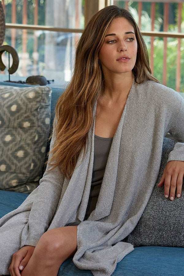 Bamboo Chic Lite Calypso Wrap Sweater - Heathered Pewter Pearl