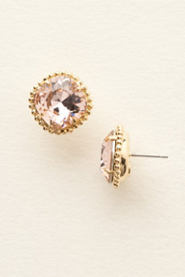 Cushion Cut Solitaire Stud Earring - Bright Gold Vintage Rose