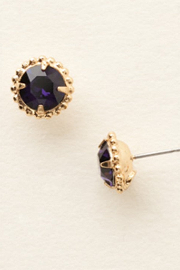 Simplicity Stud Earring - Bright Gold Purple Velvet