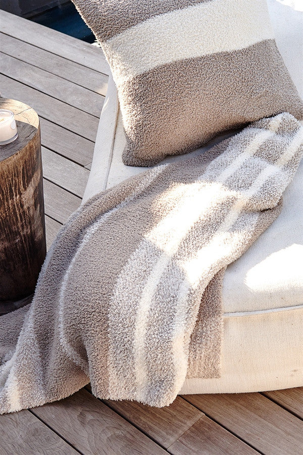 Cozy & Chic Multistripe Heathered Throw Blanket  - CREAMSAND