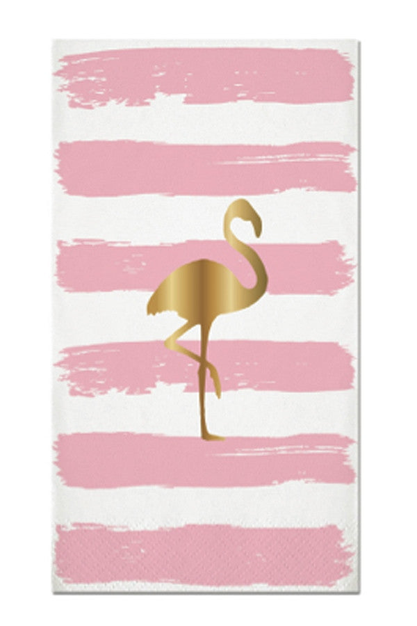 Guest Napkins - Gold Flamingo Stripe  - FOILSTRIPES