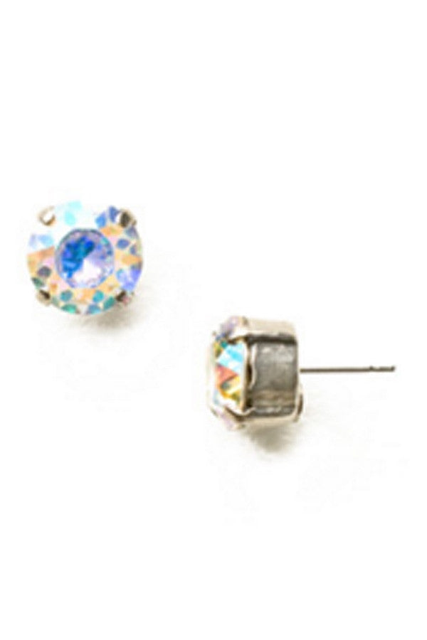 Round Crystal Stud Earring - Antique Silver Crystal Abalone