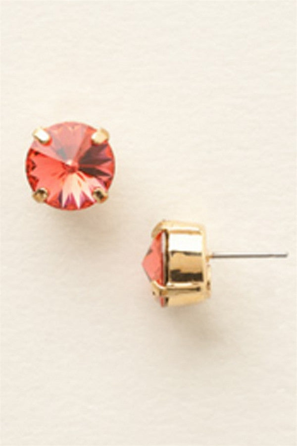 Round Crystal Stud Earring - Bright Gold Coral