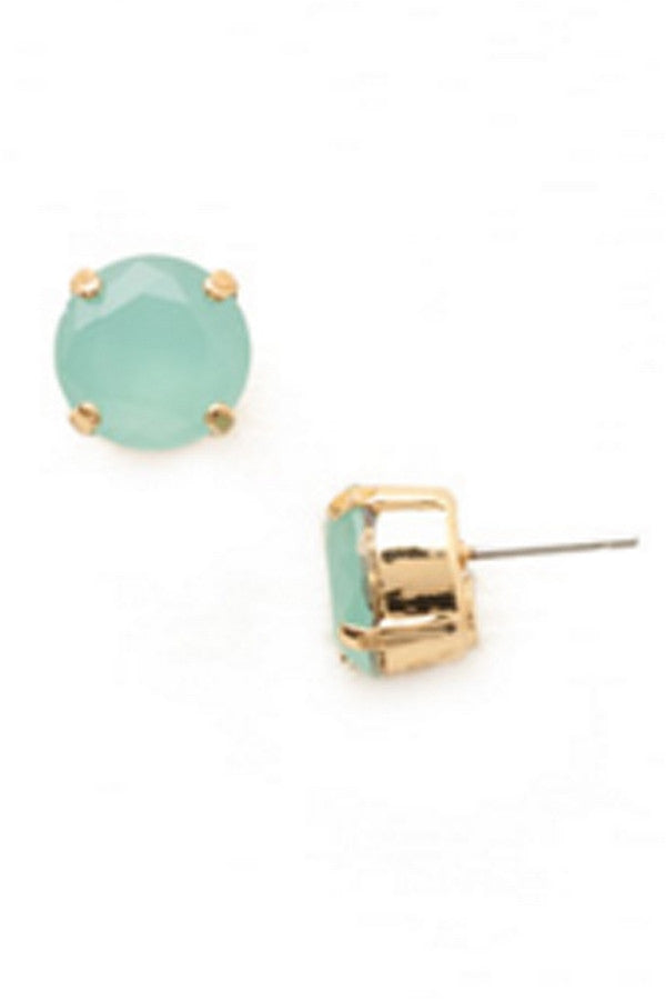 Round Crystal Stud Earring - Bright Gold Pacific Opal