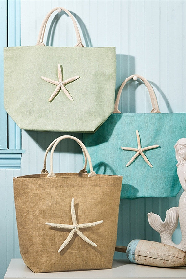 Starfish Jute Tote Bag  - LIME