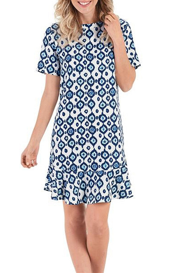 Farrah Flounce Dress - Navy Ikat  - NAVYIKAT